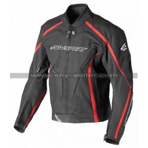 AGV Sport Dragon Red Stripe Black Leather Jacket