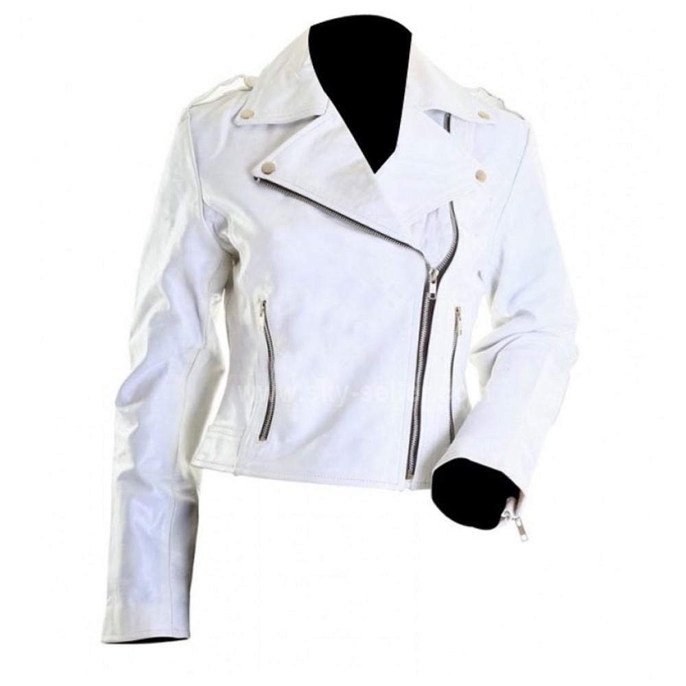 Brando White Ladies Rider Motorcycle Leather Jacket
