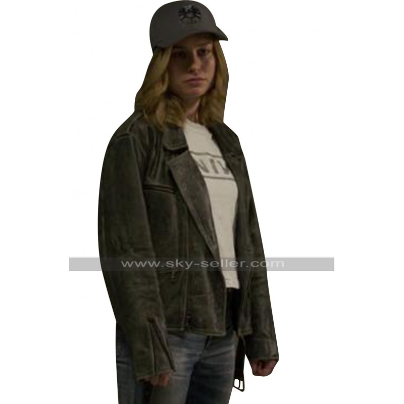 cf8aab4fd30 Brie Larson Captain Marvel Carol Danvers Black Biker Leather Jacket