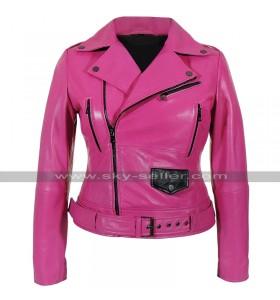 Womens Brando Biker Belted Cafe Racer Pink Motorcycle Leather Jacket