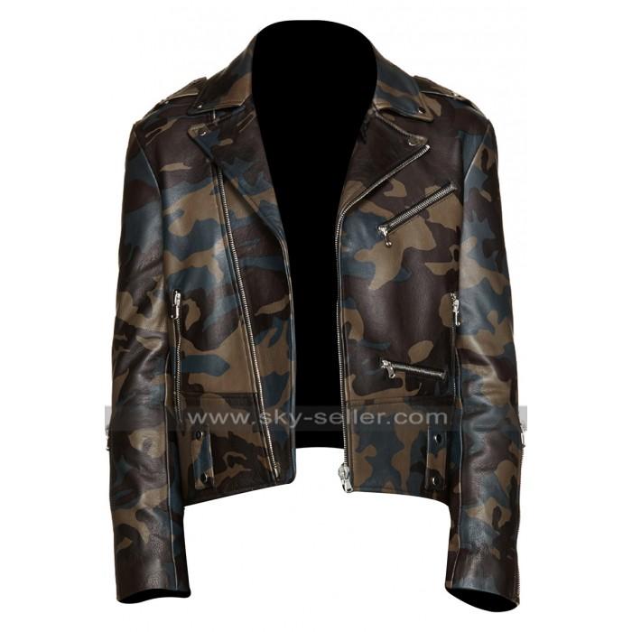 Mens Brando Motorcycle Vintage Biker Camouoflage Leather Jacket