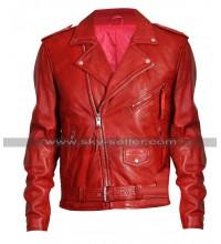 Mens Cafe Racer Brando Biker Vintage Classic Red Motorcycle Leather Jacket