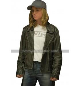 Brie Larson Captain Marvel Carol Danvers Black Biker Leather Jacket