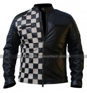 Mens Cafe Racer Checkerboard Style Black Biker Leather Jacket