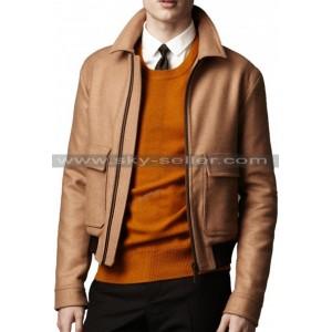 Double Flap Pockets Ribbed Waist Slimfit Biker Leather Jacket