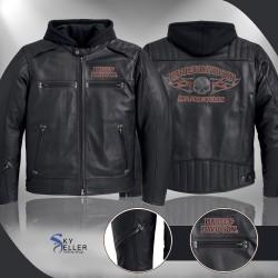 Harley Davidson Motorcycle Distressed Brown Leather Jacket