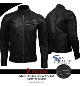 Double Zipper Pocket Men's Slimfit Quilted Biker Leather Jacket