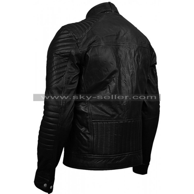Double Zipper Pocket Men S Slimfit Quilted Biker Leather