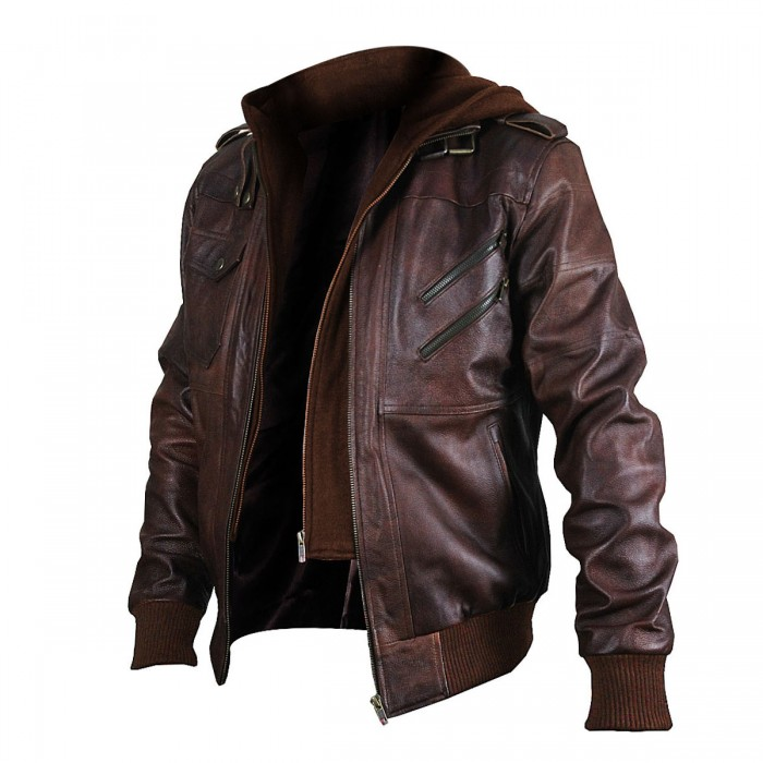 Cafe Racer Vintage Brown Biker Edinburgh Bomber Hoodie Leather Jacket