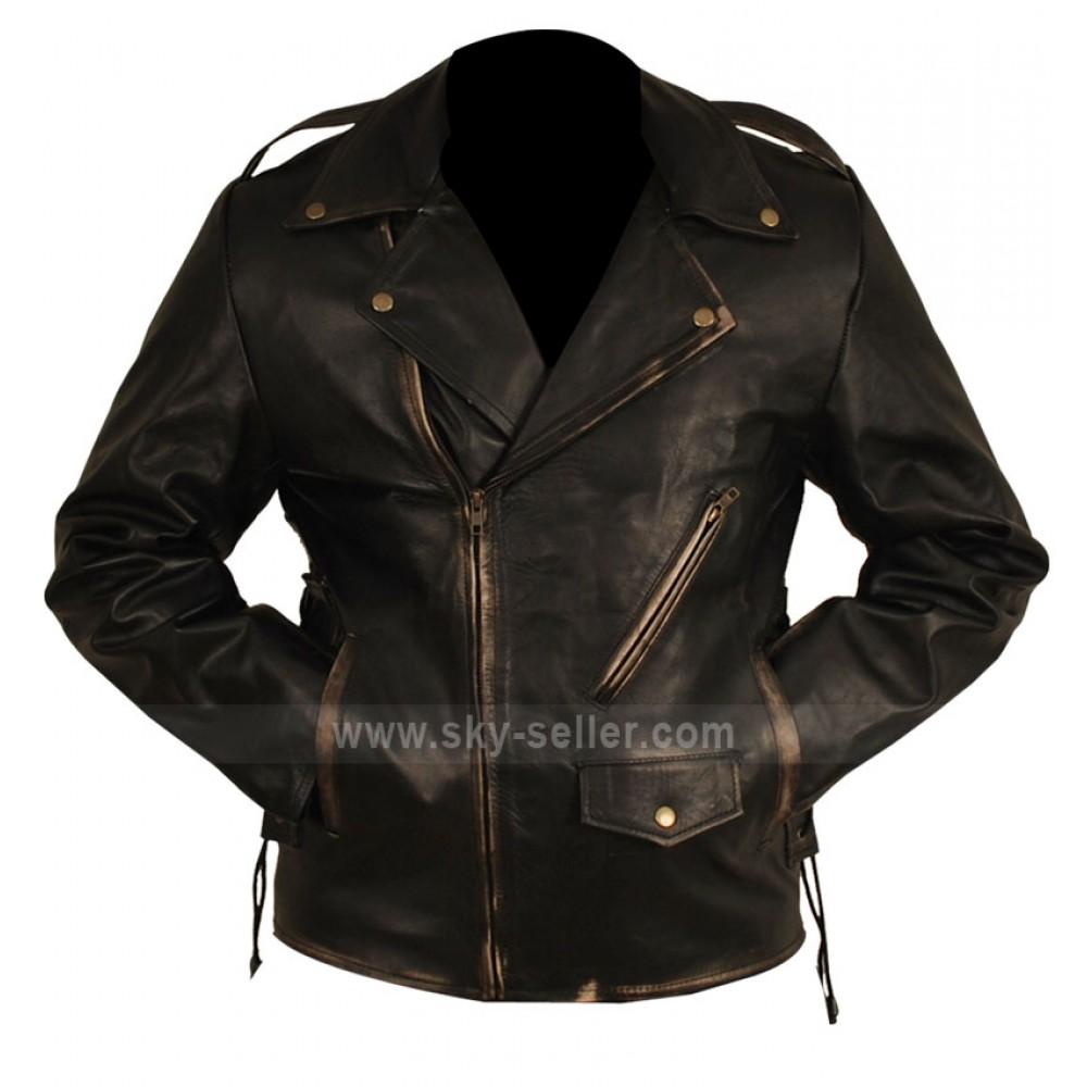 Brando Biker Heavy Duty Distressed Black Jacket