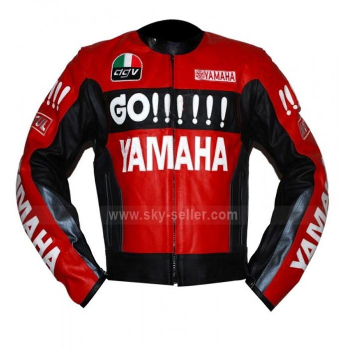 Motorcycle Yamaha Red and Black Leather Jacket