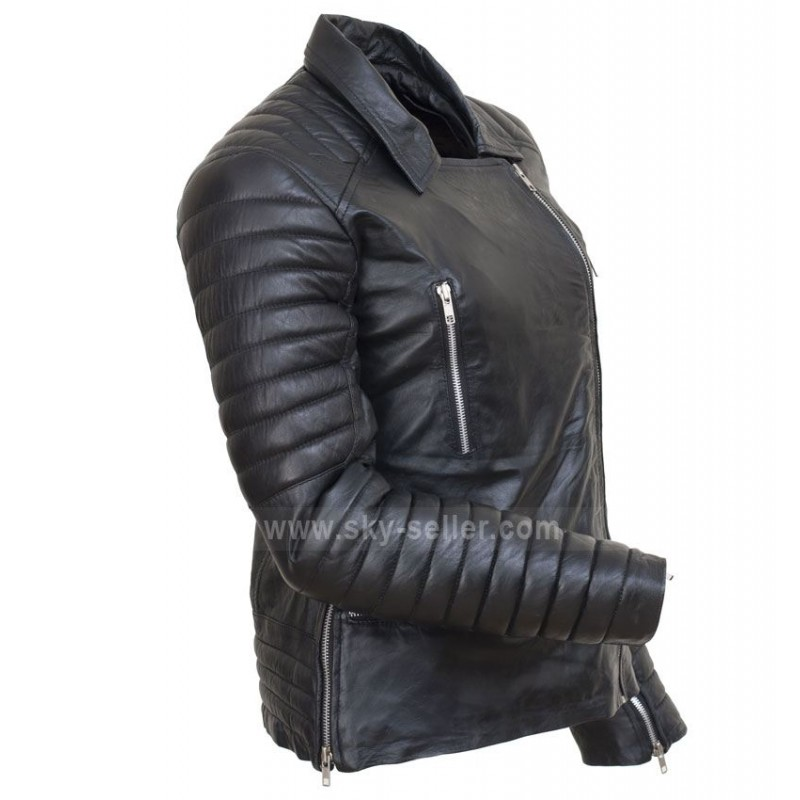 Los Angeles Sandra Bullock Bomber Motorcycle Leather Jacket