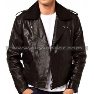 Asymmetrical Zipper Slimfit Side Pocket Fur Collar Biker Jacket