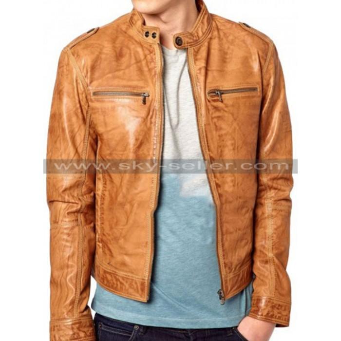 Men's Slimfit Chest Zip Pocket Distressed Brown Biker Jacket