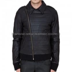 Slim Fit Men's Slanted Zip Closure Black Biker Jacket