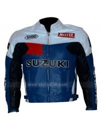 Suzuki Popular Motorcycle Blue, Black and White Leather Jacket