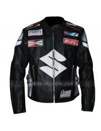 Icon Victory Suzuki Motorcycle Black Leather Jacket