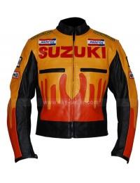 Yellow And Orange Suzuki Repsol Motorbike Leather Jacket