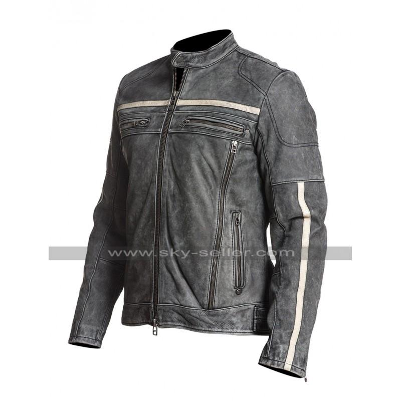 425aa5d3eea5 Mens Cafe Racer Moon Biker Distressed Leather Black Rider Jacket