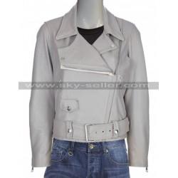Slimfit Vintage Style Motorcycle Grey Leather Jacket