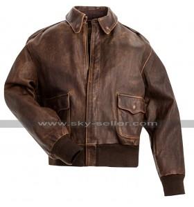 A2 Aviator Air Force Pilot Men Vintage Distressed Brown Leather Bomber Jacket