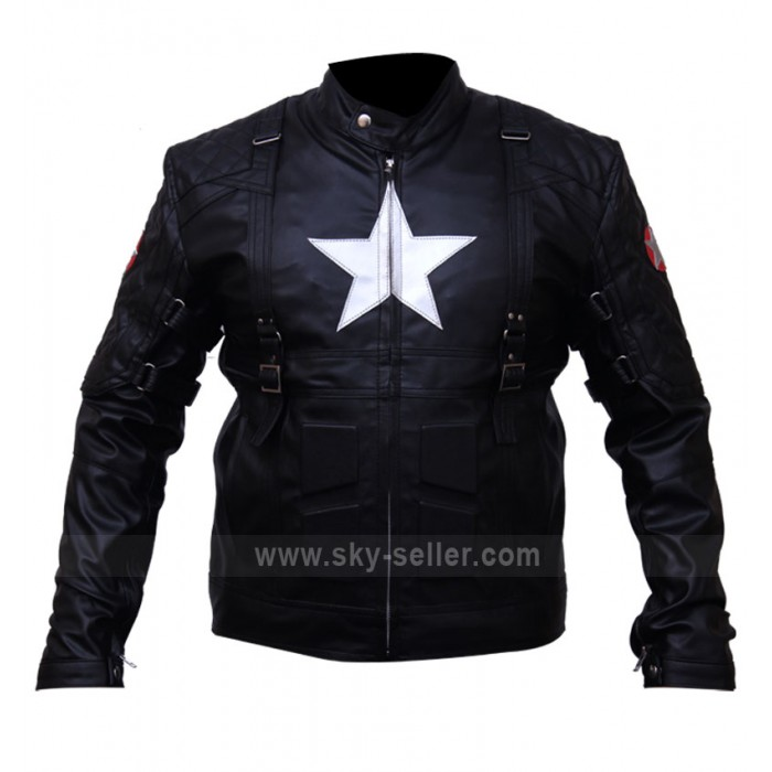 Captain America 2 Chris Evans Black Biker Leather Costume