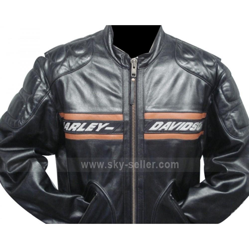 Bill Goldberg Harley Davidson Black Motorcycle Leather Jacket