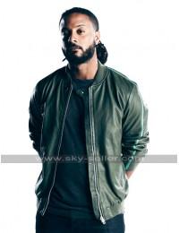 Brandon Jay McLaren Graceland Dale Jakes Bomber Green Leather Jacket