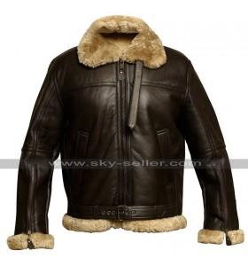 B3 RAF Aviator Pilot Flight Fur Shearling Bomber Brown Leather Jacket
