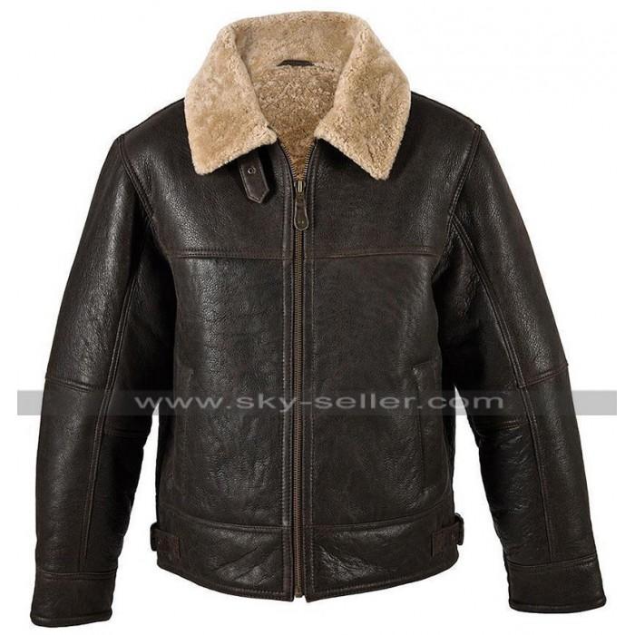 Mens B3 Aviator Pilot RAF Fur Shearling Bomber Flight Brown Leather Jacket