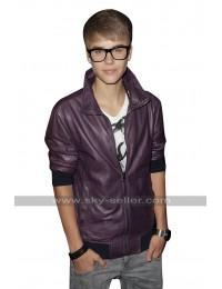 Justin Bieber Music Event Purple Bomber Leather Jacket