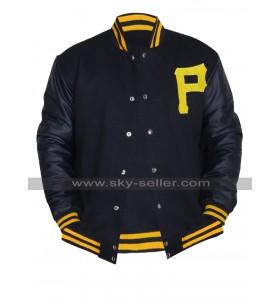 Pittsburgh Pirates Baseball Varsity Majestic P Logo Black Letterman Bomber Jacket