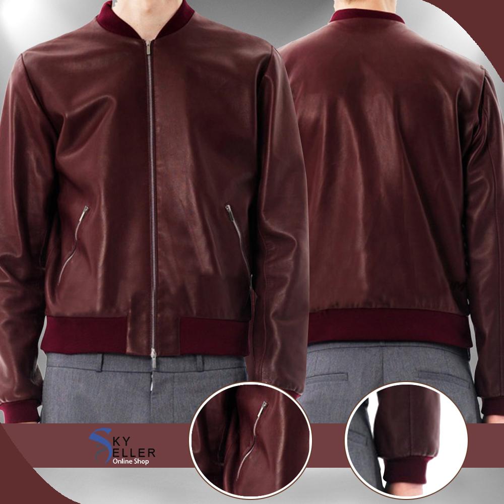 Slim Fit Bomber Men's Maroon Leather Jacket