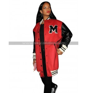 Rihanna 1 OAK Club Los Angeles Bomber Red Varsity Coat Letterman Jacket