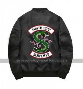 Riverdale Southside Serpents Flight Black Satin MA-1 Bomber Jacket