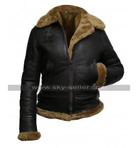 Womens B3 Aviator Pilot Flying Fur Shearling Dark Brown Hoodie Bomber Leather Jacket