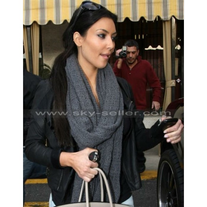 Kim Kardashian Black Asymmetrical Hollywood Jacket
