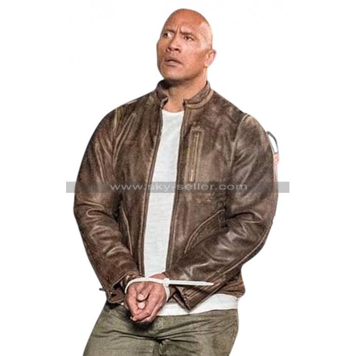 Dwayne Johnson Rampage Brown Distressed Leather Jacket