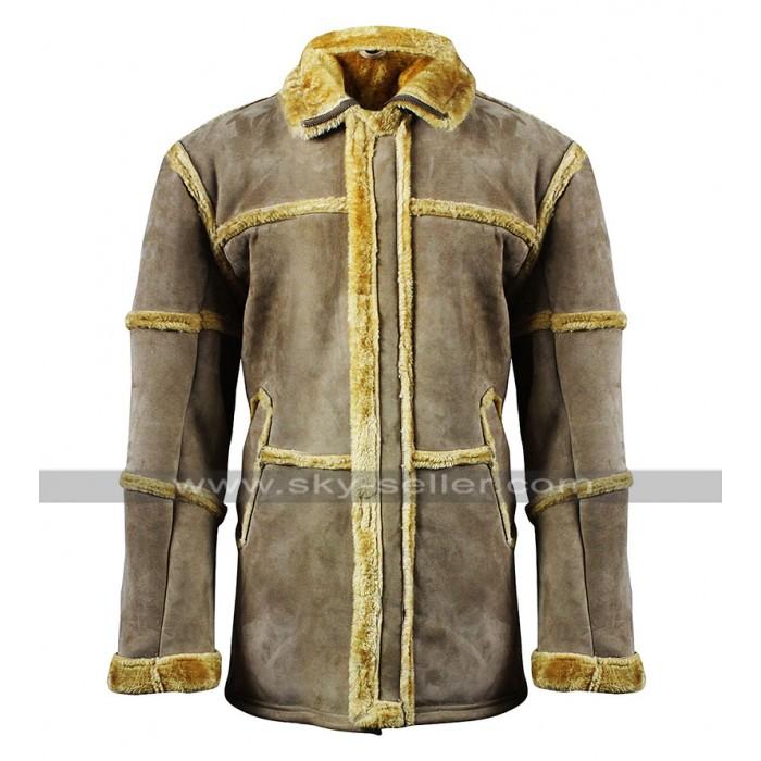 Mens B3 Aviator Pilot Flying Fur Shearling Tan Brown Jacket Suede Leather Coat