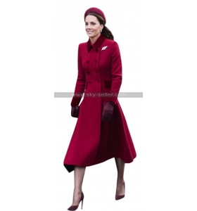 Duchess Of Cambridge Princess Catherine Kate Middleton Red Wool Coat