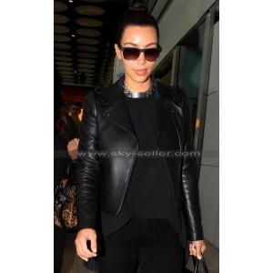 Kim Kardashian Valentino Asymmetrical Zipper Biker Jacket