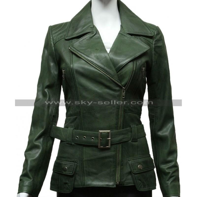 Green Womens Biker Style Leather Jacket