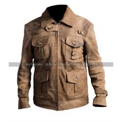 Jason Statham Expendables 2 Distressed Leather Jacket