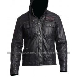 Men's Dark Battle Slim Fit Biker Leather Jacket