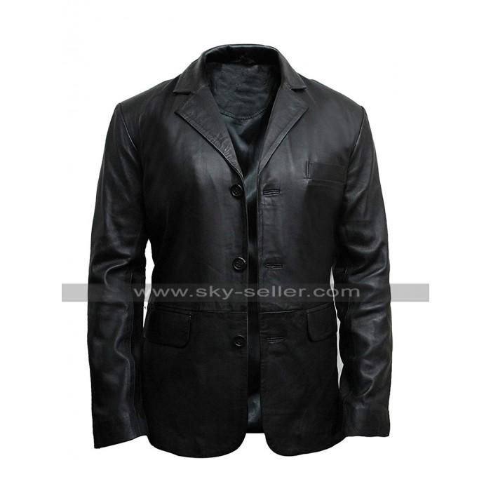 Mens Plain Black Coat Multi Pockets Slim Fit Leather Blazer