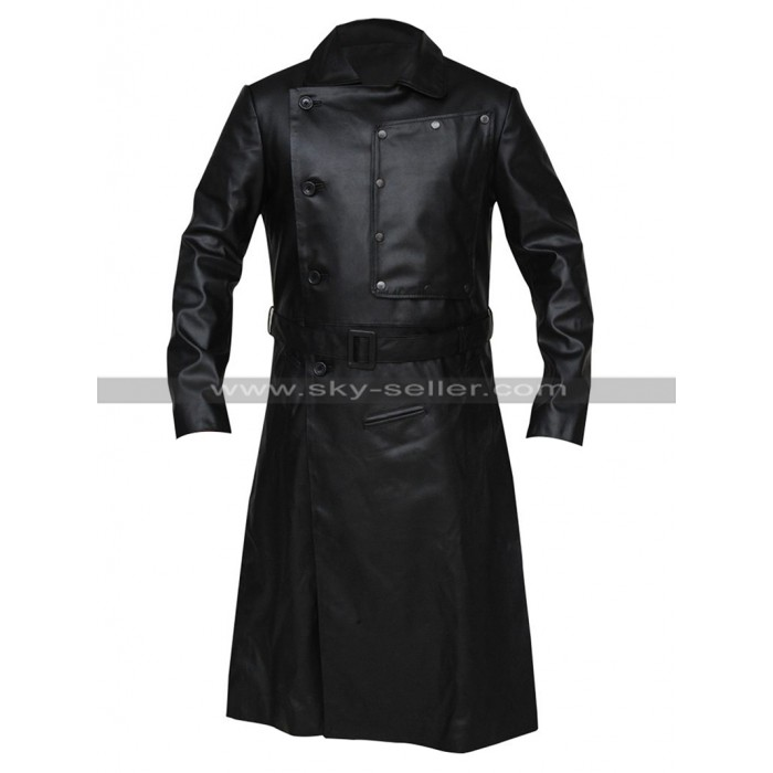 Jopling The Grand Budapest Hotel Willem Dafoe Black Leather Trench Coat