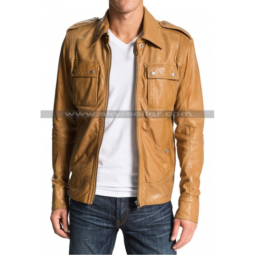 50 Cent Lisardo Tan Leather Jacket