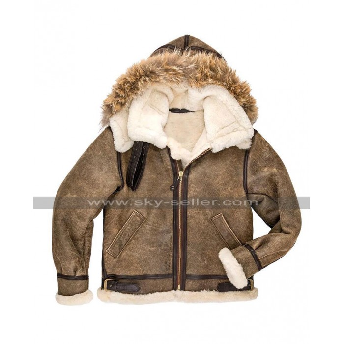 Mens RAF Pilot B3 Aviator Flight Bomber Hoodie Fur Shearling Brown Leather Jacket