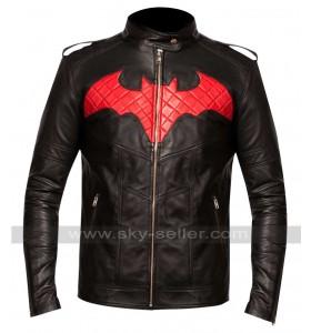 Batman Red Logo Black Leather Jacket