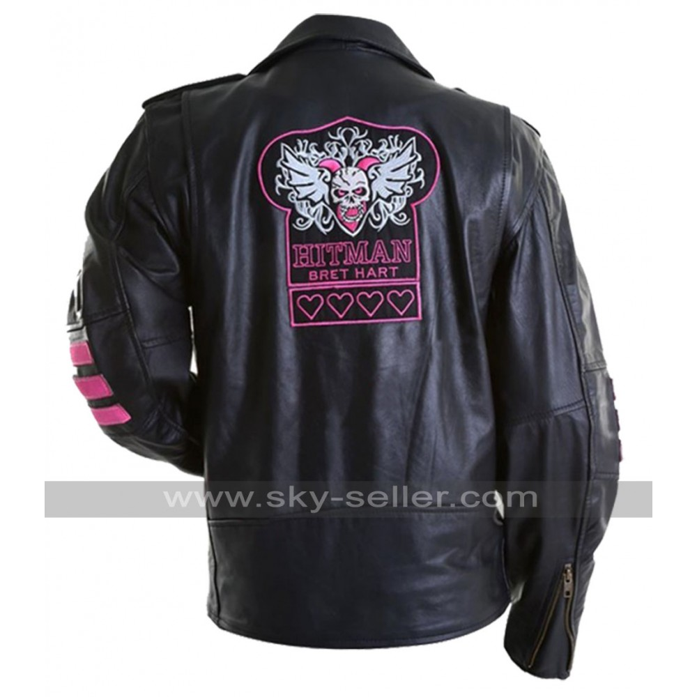 Bret Hitman Hart WWE Black Leather Jacket